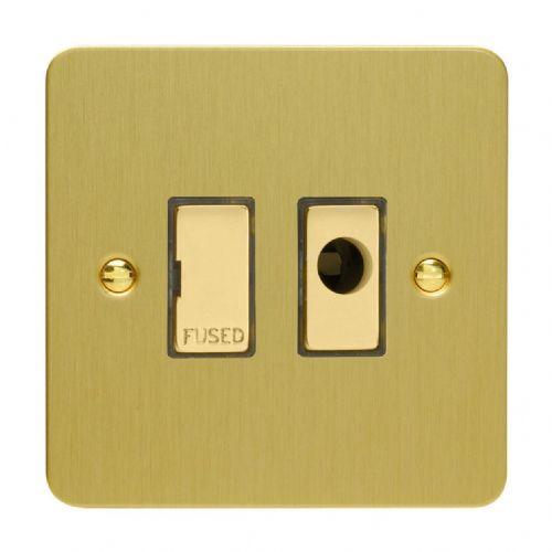 Varilight XFB6UFOD Ultraflat Brushed Brass 1 Gang 13A Unswitched Fused Spur + Flex Outlet